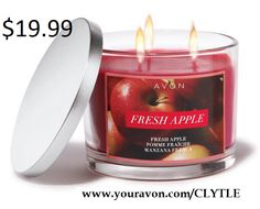 Avon Home Autumn Fragrance Fresh Apple Candle $19.99. Notes of McIntosh apples, white magnolia and sheer musk.