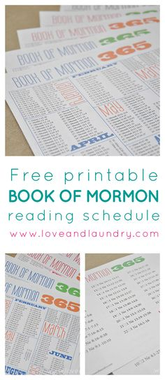 FREE PRINTABLE 365 day Book of Mormon Reading Schedule.