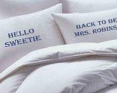 Hello Sweetie, Doctor Who, Tardis, Personalized, Custom,  Pillowcase set, pillowcase, bride, groom, pillowcases, wedding gift
