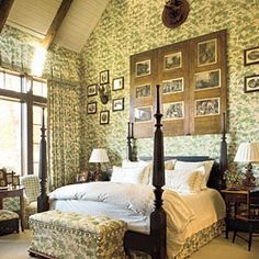 Grand Getaway - Restful Master Bedrooms - Southernliving. This master bedroom displays a more-is-more approach. Bravo to the beautiful screen above the headboard and the vaulted ceiling with its wood beams saved from an old barn. But the standing ovation goes to the abundant use of fabric. A green floral material wraps the walls like the woods outside and continues onto the bed, a bench, and the curtains. Accents such as the antique antlers, prints, and frames give the room even more…