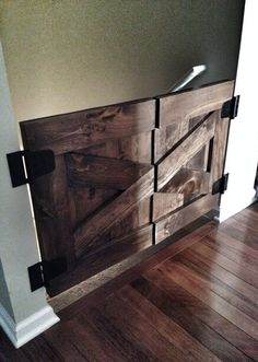 Custom Made Saloon Style Rustic Barn Door Baby Gate - Walnut