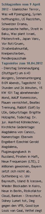 Schlagzeilen vom 9 April 2012 / Tagesinfos zum 10.04.2012 - http://www.schoeneswetter.com
