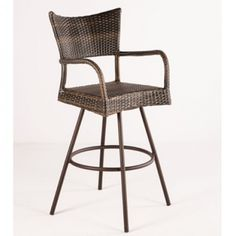 A wicker bar stool combines ease and style.
