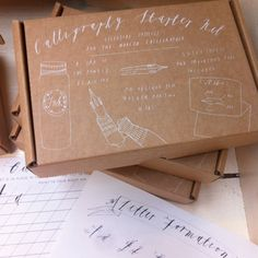 A little hand screenprinted box containing the perfect supplies to learn Modern Calligraphy. Box includes: 2 x My favourite nibs 1 x Black