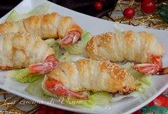 shrimp in pastry appetizer Christmas New Year Finger Food Appetizers, Yummy Appetizers, Appetizer Recipes, Cute Food, Good Food, Yummy Food, Wine Recipes, Cooking Recipes, Healthy Recipes