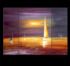"Sailboat Painting Abstract Painting Purple Sunset Seascape Original Acrylic Painting by Osnat - MADE-TO-ORDER - 48""x36"""