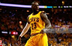 LeBron James #23 of the Cleveland Cavaliers reacts after a play in the first quarter against the Atlanta Hawks during Game Four of the Eastern Conference Finals of the 2015 NBA Playoffs at Quicken Loans Arena on May 26, 2015 in Cleveland, Ohio.