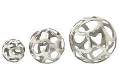 3 Piece Set Aluminum Decorative Balls - Signature