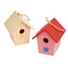 Colorations® Wooden Birdhouses - Set of 6 Arts And Crafts Kits, Craft Kits, Discount School Supply, 4 H, Bird Houses, Mother Gifts, School Supplies, Solid Wood, Blank White