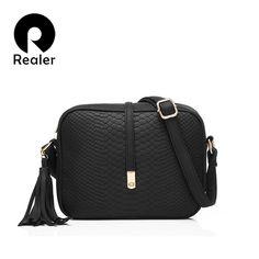 72f7c9f587e3 REALER women small messenger bags casual shoulder bag fashion retro tassel handbag  female zipper crossbody bag
