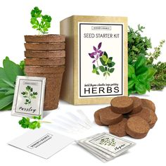 🌱 Complete Herb Starter Kit - More for the money! Five Biodegradable Growing Pots. Get this fun, indoor herb garden for your kitchen and grow fresh, delicious cooking herbs right in your windowsill!