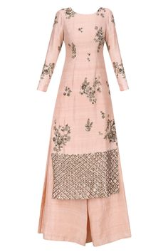 Blush pink and antique gold floral handwork kurta with flared pants available only at Pernia's Pop Up Shop.