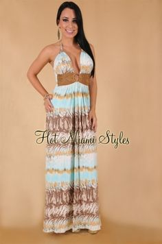 SKY Pale Turquoise Brown Suede Studded Accent Halter Maxi Dress  love this but would have to wear a bandeau bra to not show all my girls