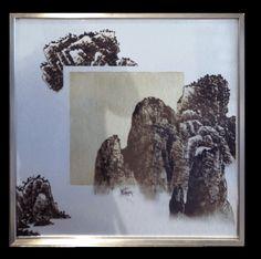现代中式 窗景山石挂画 四方装饰画工艺品 奇莱空间艺术设计