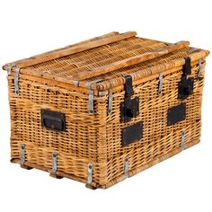 1920s French Wicker Trunk | From a unique collection of antique and modern trunks and luggage at https://www.1stdibs.com/furniture/more-furniture-collectibles/trunks-luggage/