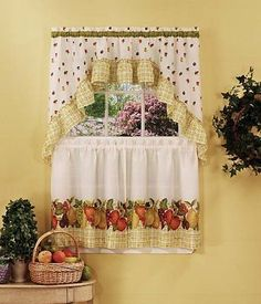 Achim Home Furnishings Fruit Medly Tier And Swag Set, 57 Inch By 36