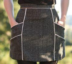 Saia com bolsos e debrum – DIY – molde, corte e costura – Marlene Mukai