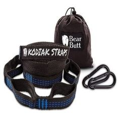 Bear Butt Kodiak Hammock Straps - 40 Combined Loops - 20 Feet Long - Holds 1000 Pounds from Our Extra Reinforced Triple Stitching - Get Our Hammock Tree Straps - Start Up Company (Black/Blue) Camping Cot, Camping And Hiking, Camping Gear, Camping Hammock, Hammock Tree Straps, Hammock Chair, Hammock Accessories, Camping Furniture, Double Hammock