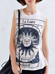 White Sleeveless La Lune Print Tank Top