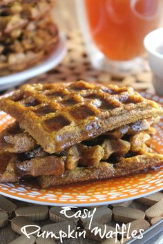Easy Pumpkin Waffles have all the seasonings of a pumpkin pie.  There are no surprises just really good flavor and texture that you can top with your favorite syrup.