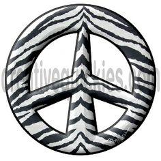 www.cafepress.com/peacethemes www.creativequickies.com www.facebook.com/creativequickies Zebra stripes peace sign symbol.