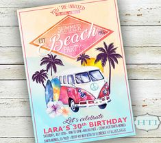Beach Party Invitation Hawaii Surfer Tropical by Hottomatoink2