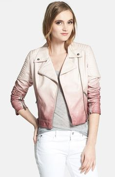 Dip Dyed Faux Leather Moto Jacket