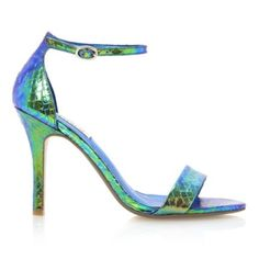 HYDRO - Two Part Ankle Strap Sandal | Heeled Sandals By Dune available online at Dune London #dunelondon #duneshoes #sandal #metallic #strap #heels #mermaid #blue #turquoise #aw13