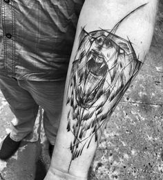 52 Best Tattoos Inspired by Classical Art and More for Handsome Mens tattoos inspired by art; tattoos inspired by books; tattoos inspired by movies; tattoos inspired by depression; tattoos inspired by history; tattoos inspired by nature Bear Tattoos, Animal Tattoos, Body Art Tattoos, Sketch Style Tattoos, Tattoo Sketches, Tattoo Drawings, Wolf Tattoo Sleeve, Sleeve Tattoos, Tattoo Arm