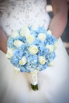 Light blue hydrangea and ivory rose bouquet at Walt Disney World