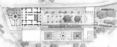 Villa Medici, Fiesole, Firenze, Italia.  Construída para Cosimo il Vecchio por Michelozzo hacia 1451 en los alrededores de Florencia. Notable integración arquitectura-jardín. Geoffrey Jellicoe layout, 1925.