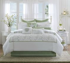 Harbor House Brisbane Comforter Set, Queen by Harbor House. $199.99. 180TC cotton with embroidery for face reverse to 180TC cotton solid. Comforter Measures 92 by 96-inch; sham measures 26 by 20-inch; bedskirt measures 60 by 80-inch, 15-inch drop and 4-inch overlap; dry clean. 100% Cotton. 2-Inch flange on sham, soft and comfort feel. 180-Thread-count comforter set for queen bed. Made from 100-percent cotton; dry clean. Sage flower embroidery spread on the white face, pure and fr...