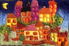 Wet felted and machine embroidery