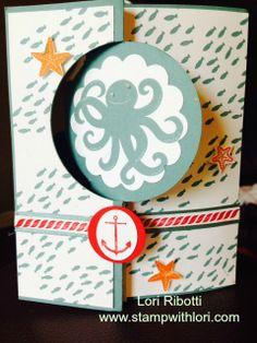 Stampin Up's Sea Street stamp set, done using Circle Card Thinlit die