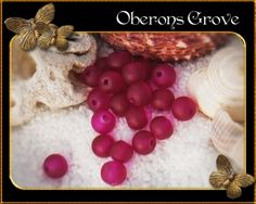 4mm frosted glass beads, magenta, hole:1mm 4mm magentafarbene gefrostete Glasperlen, Lochgröße: 1mm