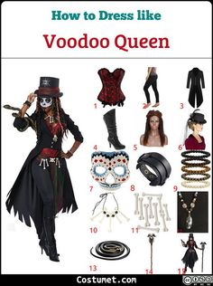 Voodoo queen costume is a red corset topped with a Victorian long coat black leggings high heel boots a dreadlock wig a top hat a day of the dead half-face mask leather and bead bracelets a bone necklace and belt and a dark fabric also as a belt. Voodoo Priestess Costume, Voodoo Costume, Voodoo Halloween, Queen Costume, Halloween 2020, Halloween Costumes, Black Dress Halloween Costume, Red Corset Top, Black Corset