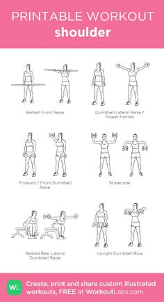 shoulder: my visual workout created at WorkoutLabs.com • Click through to customize and download as a FREE PDF! #customworkout Chest Workout Women, Gym Workout Plan For Women, Fitness Workout For Women, Barbell Workout For Women, Arm Workout Women With Weights, Woman Workout, Fitness Wear, Workout Plans, Pilates Workout Routine