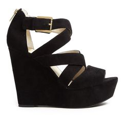 MICHAEL Michael Kors Axton Suede Wedges With Gold Trim ($234) ❤ liked on Polyvore