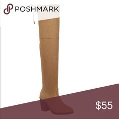 ❄️Tan knee high boots ❄️ Gorgeous Over the Knee Boot  Lend a sophisticated finish to your outfit with these boots! is ideal for pairing with a sleek dress or fitted jeans.                                                            Size available 5.5-10  🤑PRICE IS FIRM 🤑   •Suede and stretchy material •High heel 3 inches  •Lenght 26 inches  •Circumference 16 inches                            ❤️ANY QUESTIONS LET ME KNOW ❤️ Shoes Over the Knee Boots