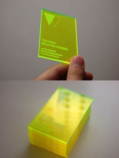 Laser Cut Business Card Personal business card that aims to reflect myself as a type driven graphic designer who has a passion for design for print. Produced by laser cutting into a fluorescent sheet of acrylic. The engraving was done on the reversed s Speisenkarten Designs, Packaging Design, Branding Design, Corporate Design, Identity Branding, Corporate Identity, Brochure Design, Visual Identity, Bussiness Card