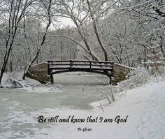 5x7 original photograph of Snow Covered Bridge with Scripture Verse