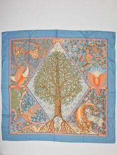 Hermes silk scarf Axis Mundi designed by Henry C by Flyinganyc