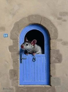 """""""Numéro Little mouse and blue door Oil painting, Mouse Crafts, Wall Murals, Wall Art, Hamster, Fairy Doors, Christmas Scenes, Animal Paintings, Rock Art, Pet Birds"""