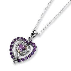 Sterling Silver & 14k Gold Amethyst & Diamond Heart Necklace