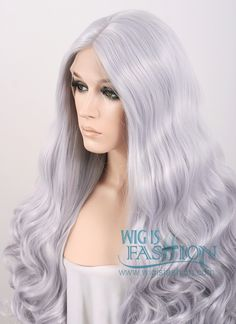 "18""-28"" Long Curly Wavy Silver Grey Customizable Lace Front Synthetic Hair Wig LF667S"