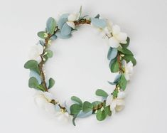 Flower Crown, Boho Wedding, Green Flower Crown, Ivory, Floral Crown, Eucalyptus Crown, Flower Hair Accessory, Wedding Crown, Eucalyptus