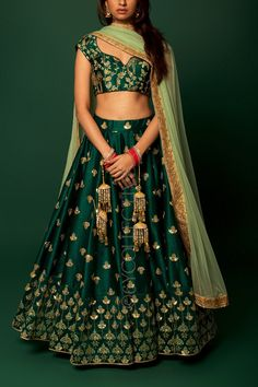 Emerald Green Embroidery Lehenga - Source by Indian Lehenga, Lehenga Choli Latest, Green Lehenga, Mehendi Outfits, Indian Bridal Outfits, Indian Designer Outfits, Indian Dresses, Lehenga Choli Designs, Saree Blouse Designs