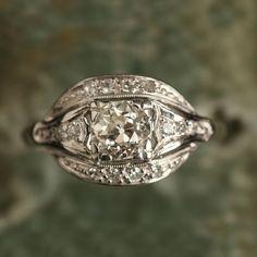 Deco Platinum .60ct Eye Cluster Ring | Erica Weiner