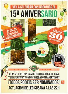 Sábado,30: XV Aniversario Flaherty's Zaragoza. ¡Todos podéis ser nominados!