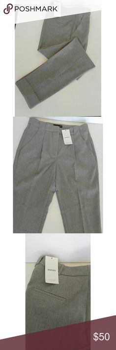 NWT Mango's Bird's Eye Trousers High-waist bird's eye trousers with detachable skinny belt pleats at front, twin decorative welt pockets at back and rolled-up hem belt loops, zip and hook fastening. Mango Pants Trousers
